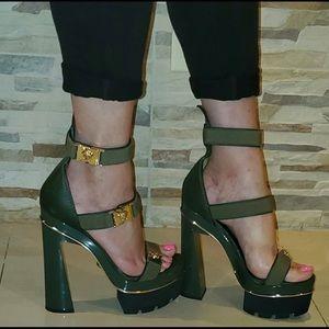 Versace Medusa Leather Platform Sandals